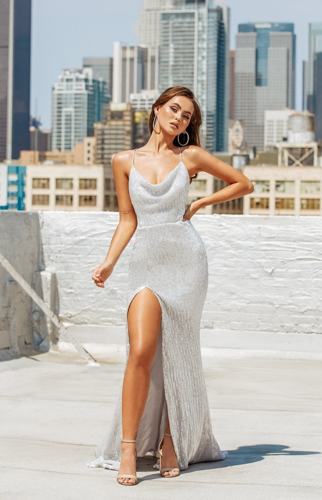Portia & Scarlett PS21210 silver backless tie up bodycon prom dress at shaide boutique uk