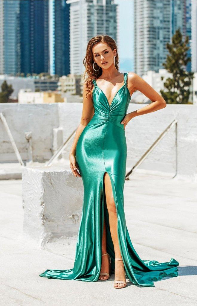 Portia & Scarlett PS21212 emerald green grecian inspired evening gown at shaide boutique uk