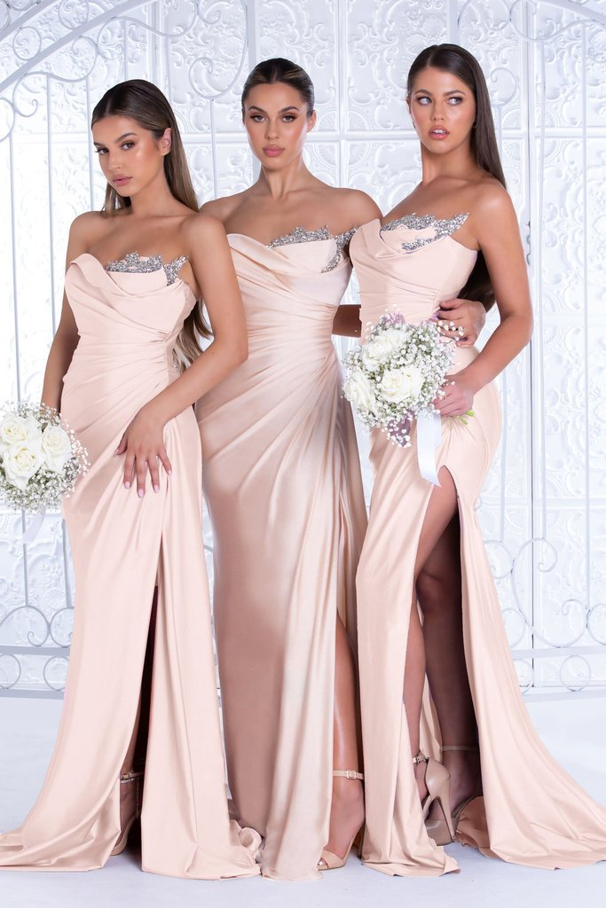 portia and scarlett PS21218 - Champagne strapless bodycon fitted bridesmaids dress at shaide boutique uk & usa