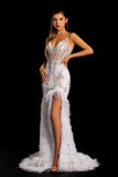 Portia & Scarlett PS21220 ivory gold ostrich feather trim bodice engagement party formal dress at shaide boutique uk