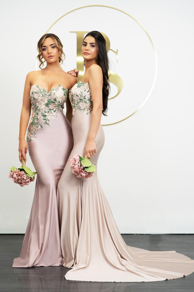 Portia & Scarlett PS21243 embroidered floral bandeau style bridesmaids dress with mermaid train at shaide boutique uk and us
