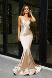 Portia & Scarlett Ps21279 champagne strapless bodycon sexy evening dress with mermaid train at shaide boutique uk