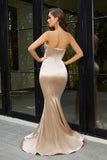 Portia & Scarlett Ps21279 champagne strapless bodycon sexy evening dress with mermaid train at shaide boutique uk back