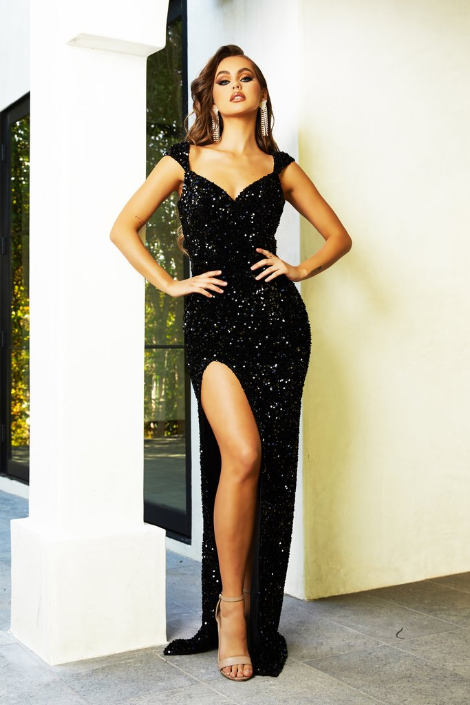 Portia & Scarlett PS21280 black sequin sweetheart neckline goddess evening dress from shaide boutique uk