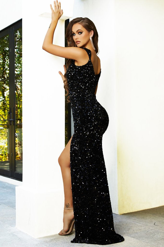 Portia & Scarlett PS21280 black sequin sweetheart neckline goddess evening dress from shaide boutique uk side