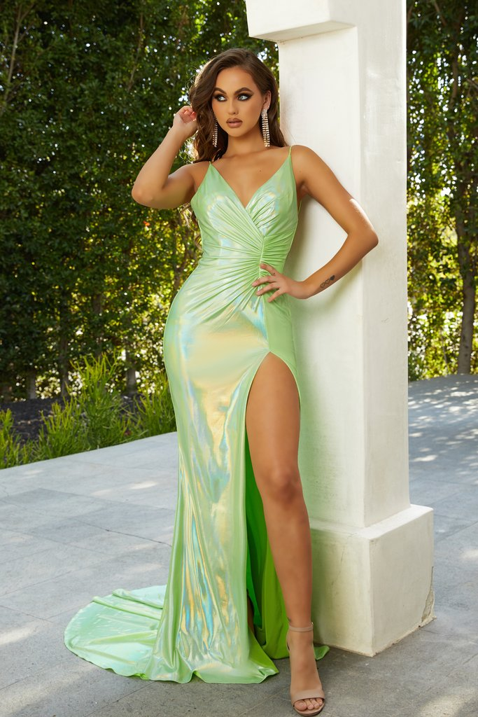 Portia and Scarlett hugo gown, bodycon fit, plunging neckline with thigh high split at shaide boutique uk