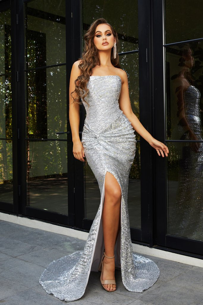 Portia & Scarlett PS21286 in silver formal gown is a beautiful Grecian evening dress from shaide boutique uk free shipping