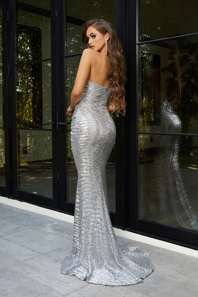 Portia & Scarlett PS21286 in silver formal gown is a beautiful Grecian evening dress from shaide boutique uk free shipping back