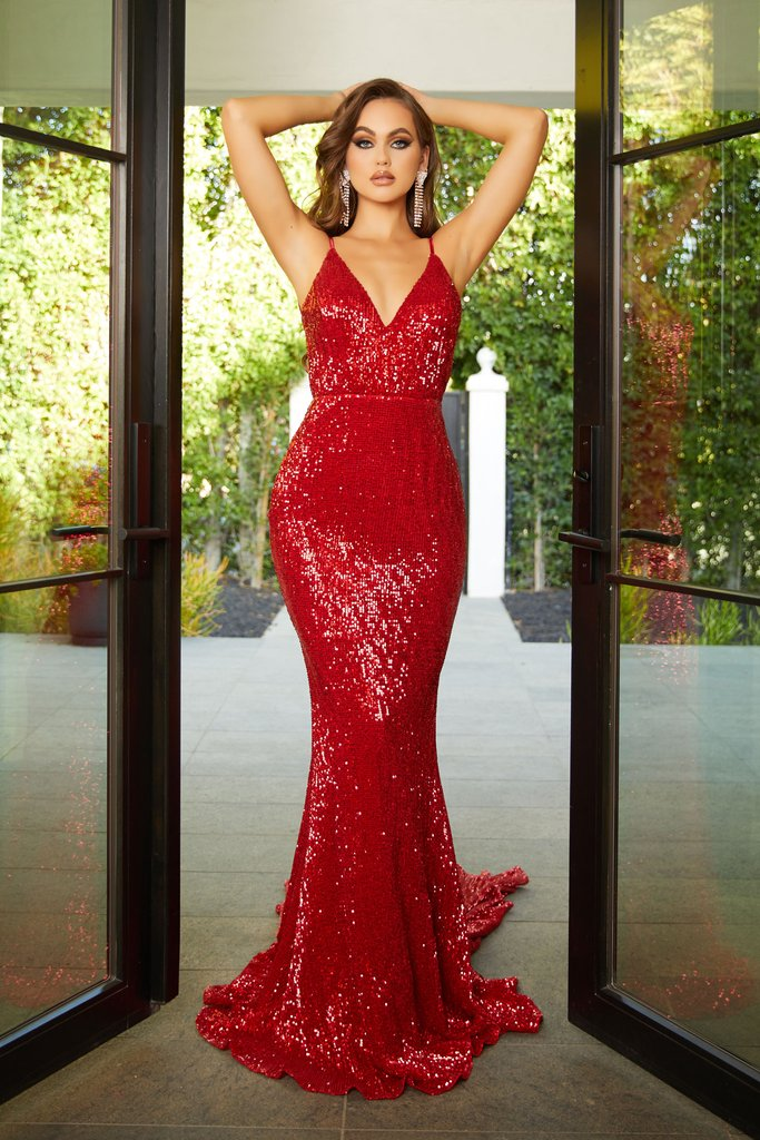 Portia & Scarlett PS21287 plunging red sequin backless bodycon evening dress with mermaid train at shaide boutique uk