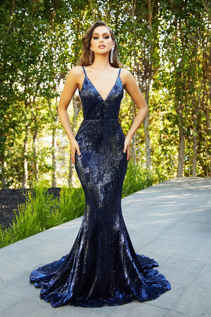portia and scarlett ps21287 navy sequin backless bodycon prom dress at shaide boutique uk