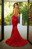 Portia & Scarlett PS21287 plunging red sequin backless bodycon evening dress with mermaid train at shaide boutique uk back