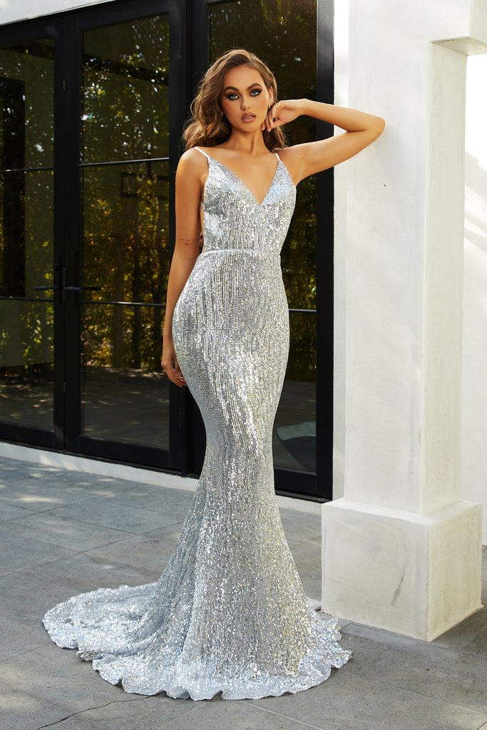 Portia & Scarlett PS21287 silver bodycon sequin backless prom dress at shaide boutique uk