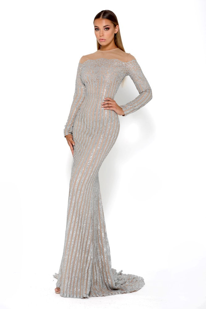 Portia & Scarlett Dramatic Modest Franchetti Long Sleeve Evening Gown bridesmaids dress