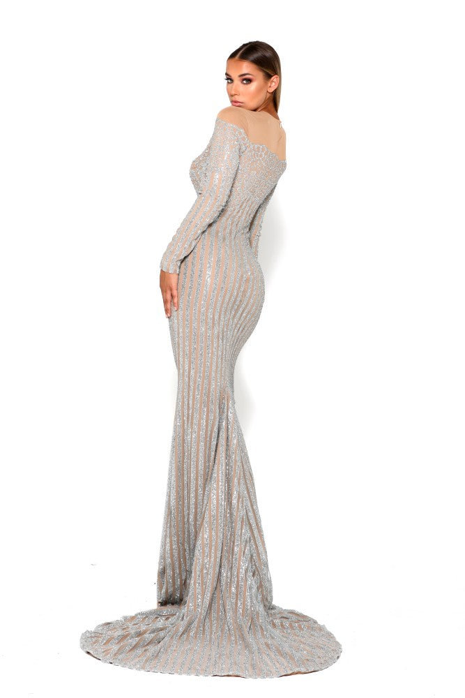 Portia & Scarlett Dramatic Modest Franchetti Long Sleeve Evening Gown evening dress