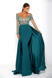 Portia & Scarlett Princess Emerald Long sleeved prom dress