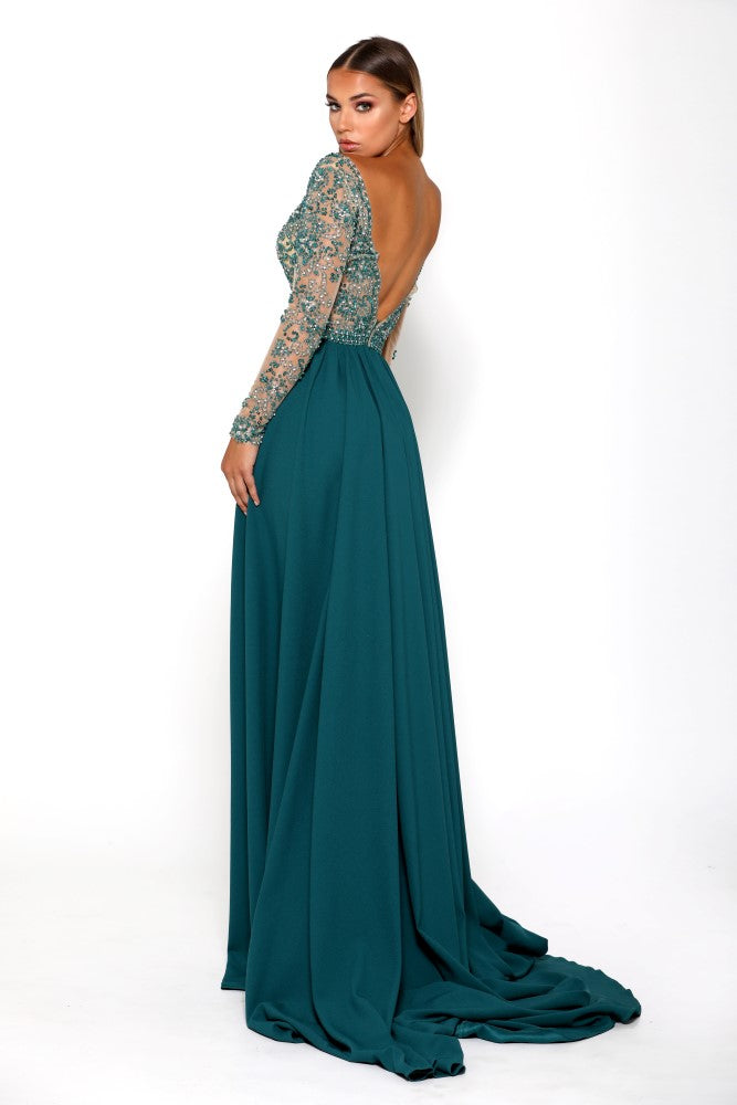 Portia & Scarlett Princess Emerald Long Sleeved Evening Gown