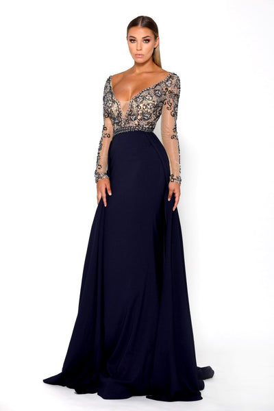 Portia & Scarlett Princess Navy Long sleeved evening gown