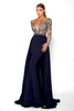 Portia & Scarlett Princess Navy long sleeved prom dress