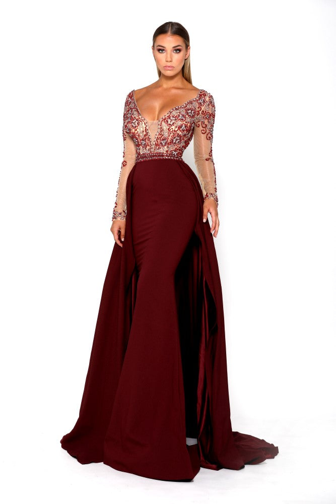 Portia & Scarlett Princess Plum Long sleeved Evening Gown