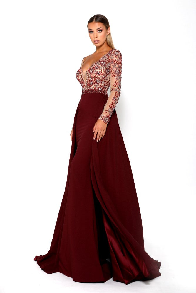 Portia & Scarlett Princess Plum Long sleeved formal gown