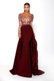 Portia & Scarlett Princess Plum Long sleeved prom dress