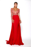 Portia & Scarlett Princess Red Long sleeved formal gown