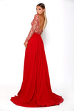 Portia & Scarlett Princess Red Long sleeved evening dress