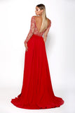 Portia & Scarlett Princess Red Long sleeved bridesmaids dress