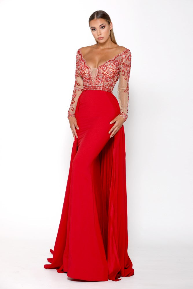 Portia & Scarlett Princess Red Long sleeved prom dress