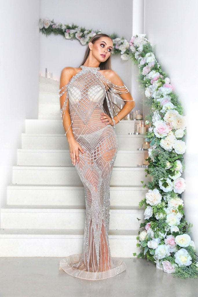 portia and scarlett erin luxury collection shimmering sheer sequin formal gown