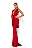 Portia & Scarlett Liliana Red Plunging Chest Evening Gown prom dress