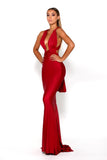 Portia & Scarlett Liliana Red Plunging Chest Evening Gown red