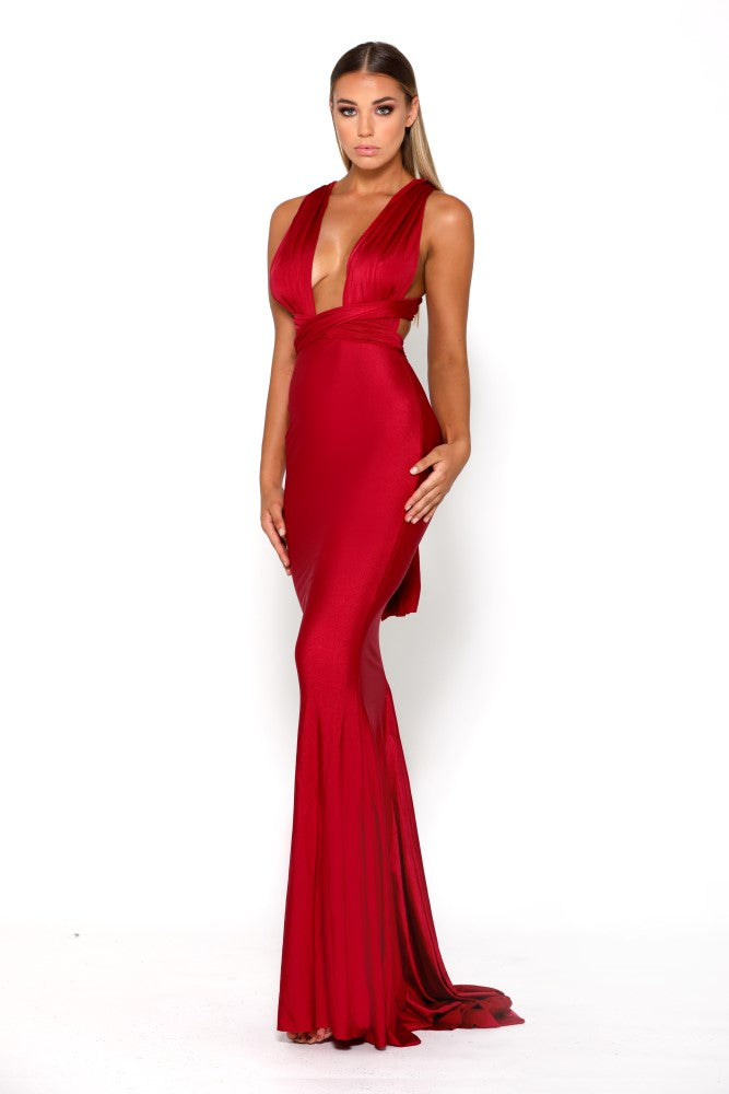 Portia & Scarlett Liliana Red Plunging Chest backless formal gown