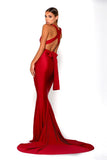 Portia & Scarlett Liliana Red Plunging Chest Evening Gown evening dress