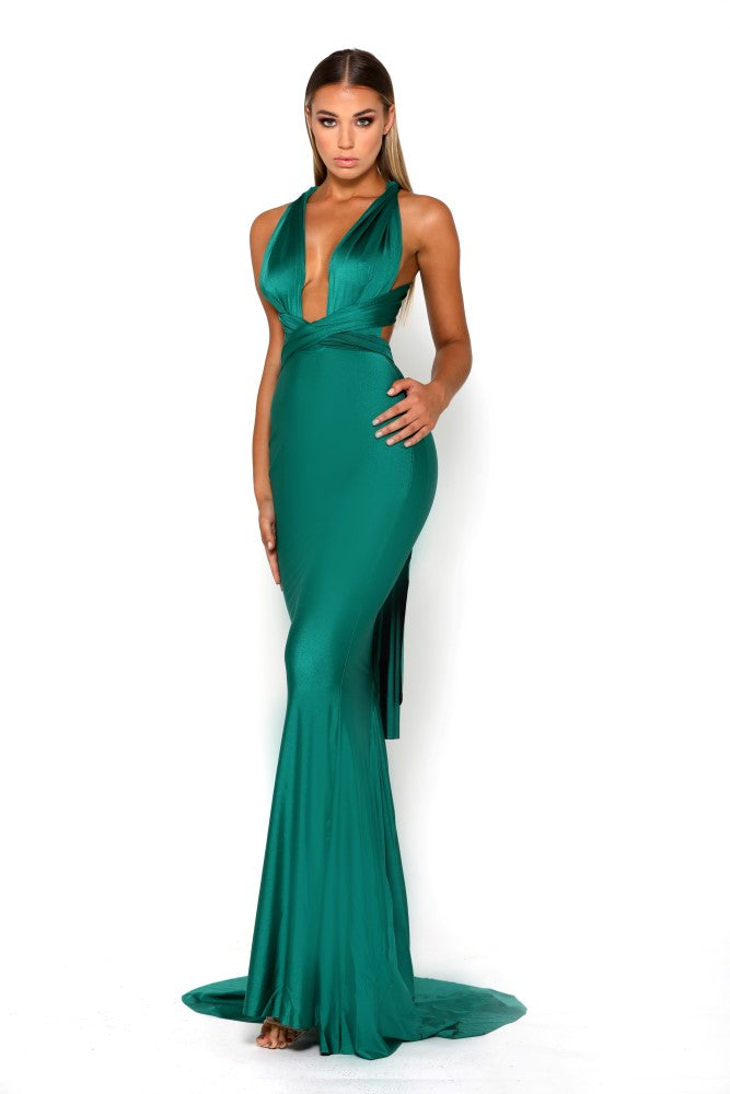Portia & Scarlett Liliana Aqua Plunging Chest Evening Gown