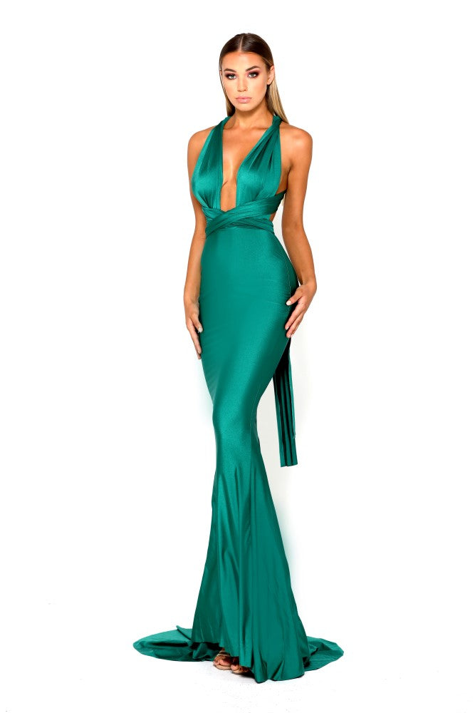 Portia & Scarlett Liliana Aqua Plunging Chest prom dress