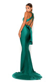 Portia & Scarlett Liliana Aqua Plunging Chest formal dress