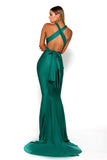 Portia & Scarlett Liliana Aqua Plunging Chest Evening backless prom dress