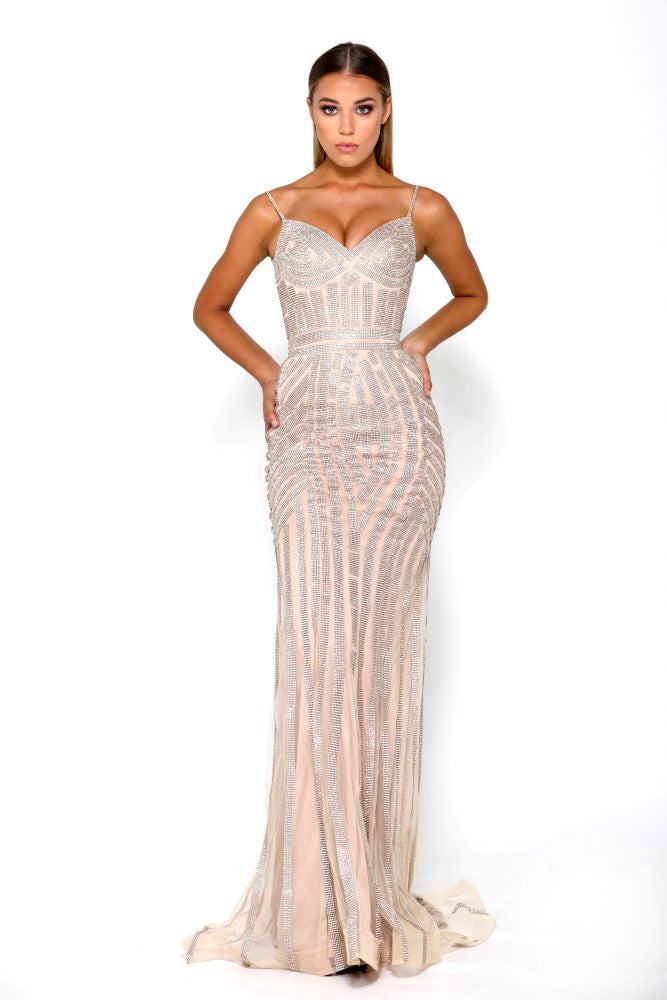 portia and scarlett lourdes gold prom dress from shaide boutique uk front