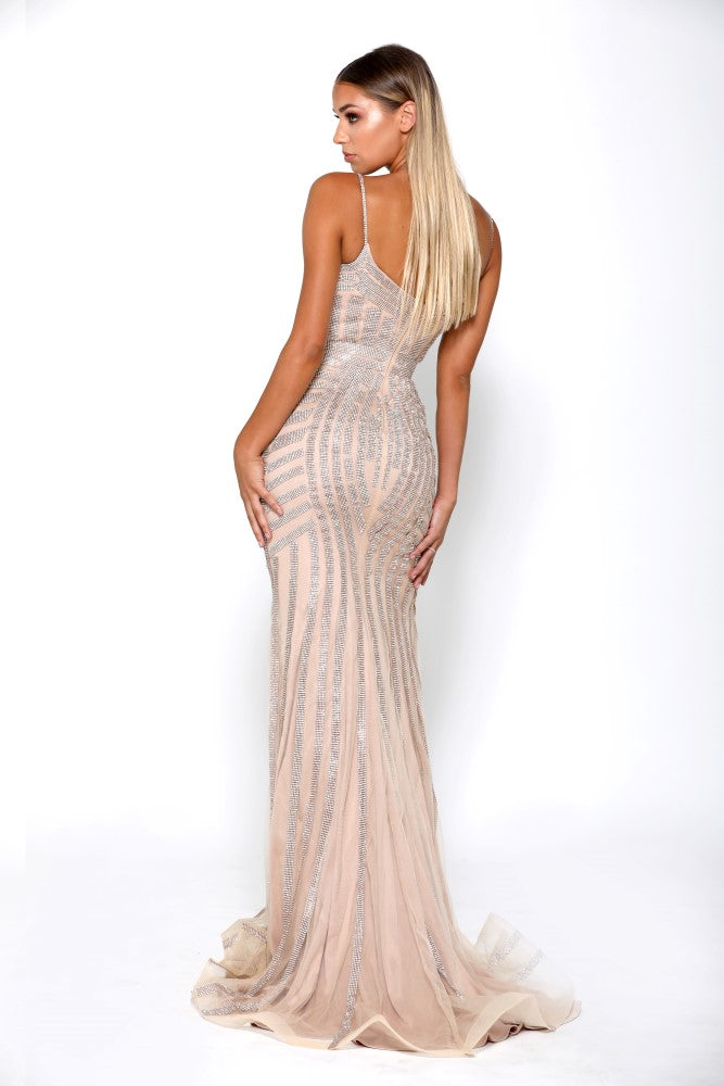 portia and scarlett lourdes gold prom dress from shaide boutique uk side