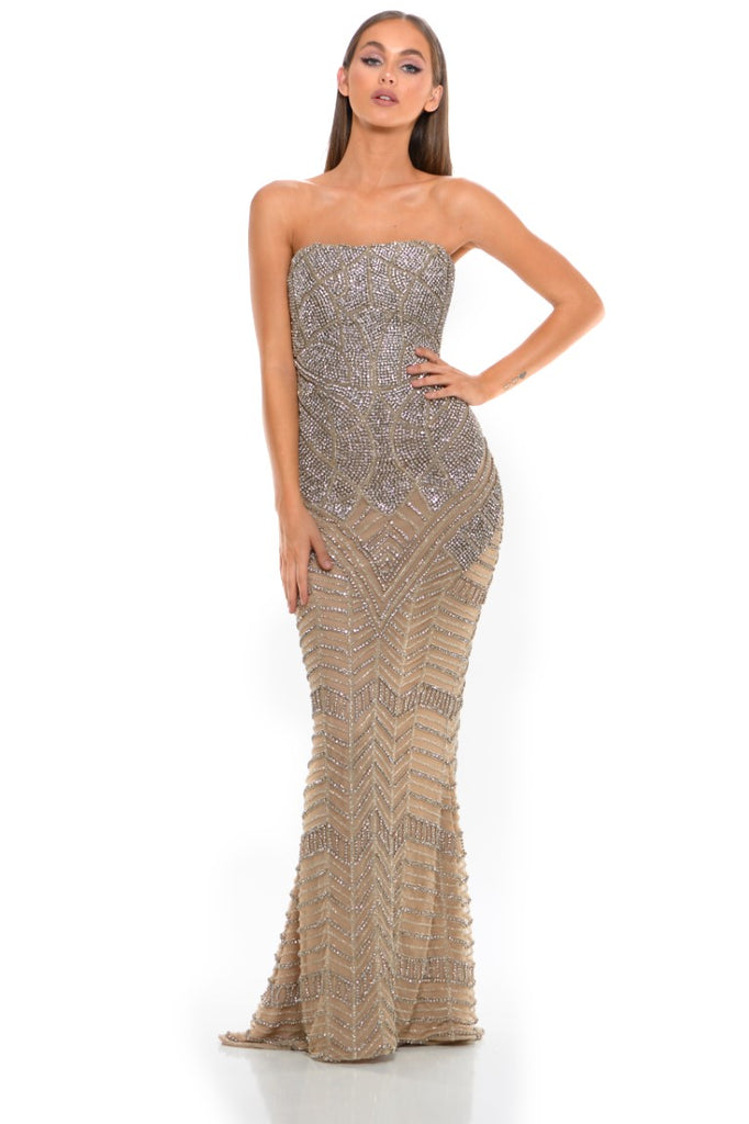 Portia & Scarlett PS3001 - CAP D'AIL strapless beaded engagement party dress at shaide boutique uk