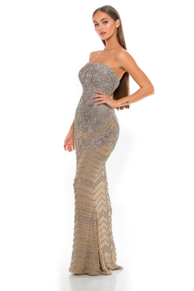 Portia & Scarlett PS3001 - CAP D'AIL strapless beaded engagement party dress at shaide boutique uk side