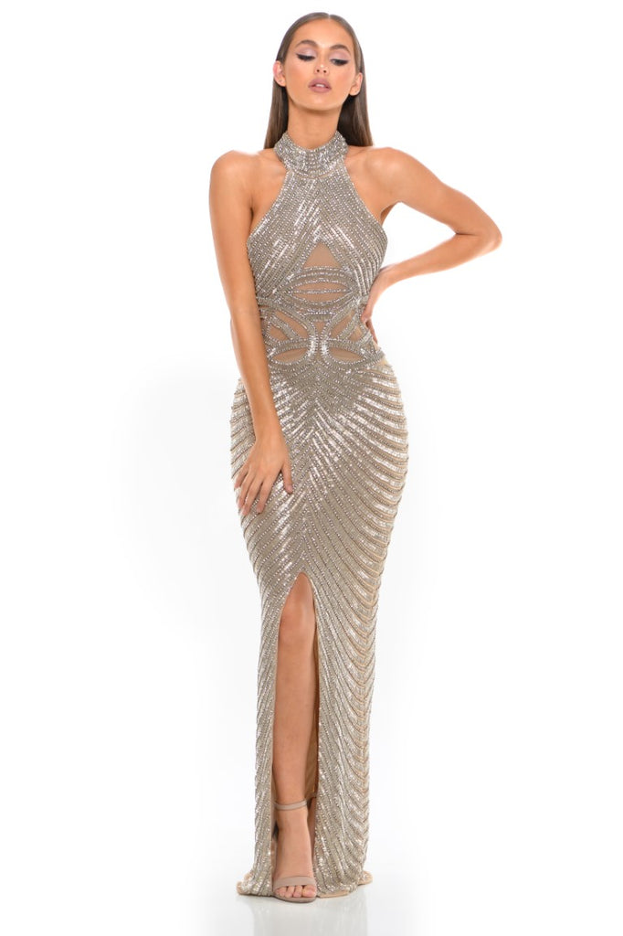 Portia & Scarlett PS3002 - AMORE beaded halterneck luxury evening engagement party gown at shaide boutique uk