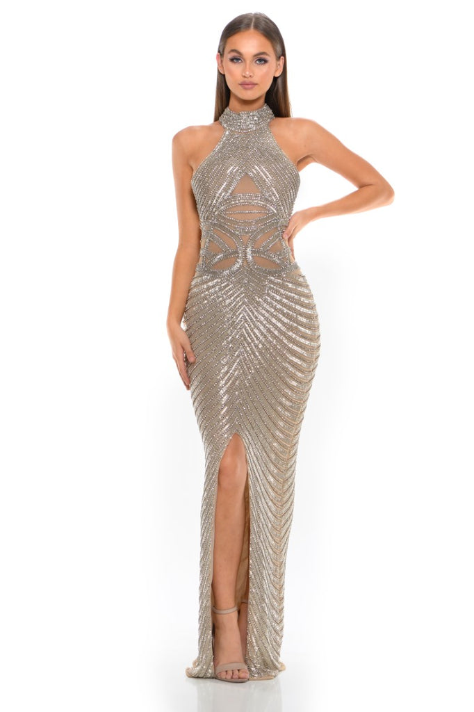 Portia & Scarlett PS3002 - AMORE beaded halterneck luxury evening engagement party gown at shaide boutique uk front