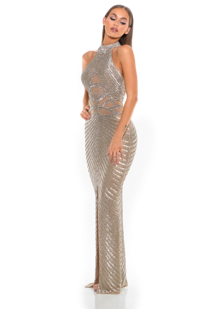 Portia & Scarlett PS3002 - AMORE beaded halterneck luxury evening engagement party gown at shaide boutique uk side