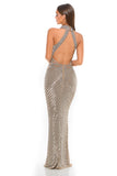 Portia & Scarlett PS3002 - AMORE beaded halterneck luxury evening engagement party gown at shaide boutique uk back