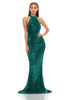 portia and scarlett hailey ps3005 emerald sequin halterneck backless bodycon dress at shaide boutique uk