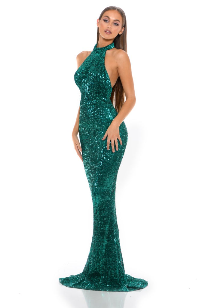 portia and scarlett hailey ps3005 emerald sequin halterneck backless bodycon dress at shaide boutique uk side