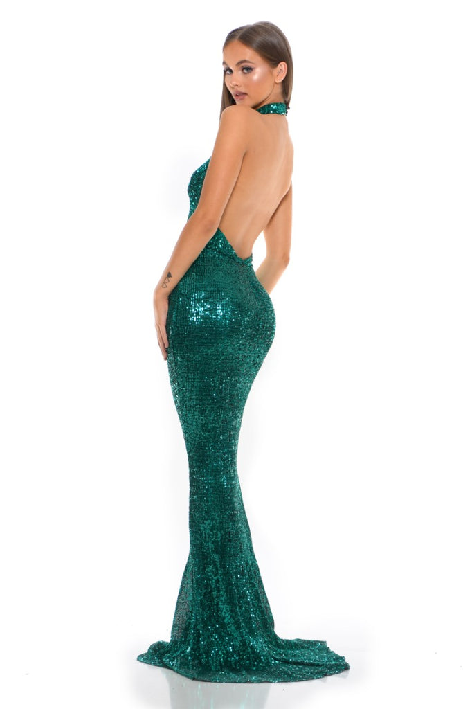portia and scarlett hailey ps3005 emerald sequin halterneck backless bodycon dress at shaide boutique uk back