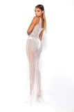 portia and scarlett sfb silver sequin formal gown